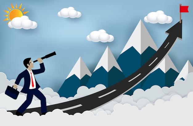 Conceito de sucesso nos negócios. empresário olhando com o telescópio crescimento idéia moderna e alcançar maior