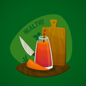 Conceito de suco de cenoura