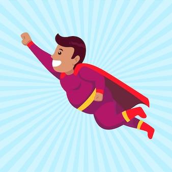 Conceito de super pai com fantasia e design de mascote de pose voadora