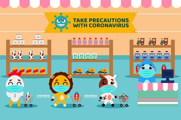 Conceito de supermercado com animais