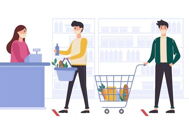 Conceito de supermercado coronavirus