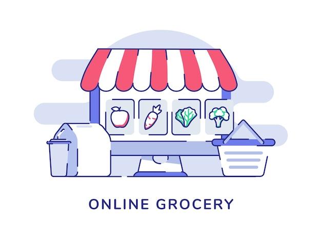 Conceito de supermercado online maçã cenoura repolho brócolis na tela do computador