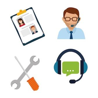 Conceito de suporte on-line com design de ícone