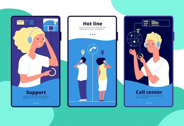 Conceito de suporte online. operador de chat de clientes, consultor responde ao cliente. call center, layouts de vetor vertical de atendimento ao cliente