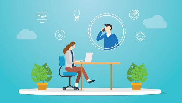 Conceito de suporte técnico com mulher e homem de plantão com ilustração vetorial de moderno estilo simples