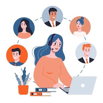 Conceito de suporte técnico. ideia de atendimento ao cliente. apoie os clientes e ajude-os com os problemas. fornecendo ao cliente informações valiosas. ilustração em grande estilo
