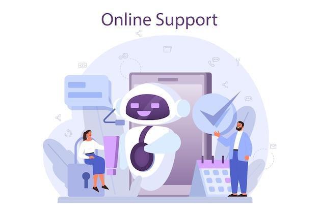Conceito de suporte técnico. ideia de atendimento ao cliente. o consultor apóia clientes e os ajuda com problemas. fornecendo ao cliente informações valiosas.