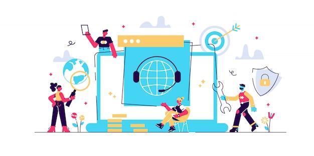 Conceito de suporte técnico. ilustração, linha direta de tecnologia ao cliente, atendimento ao cliente, ajuda 24 horas, comunicação.