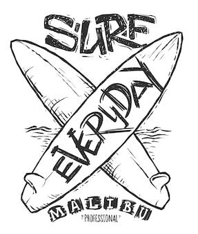 Conceito de surfe para ilustração de impressão de camisa