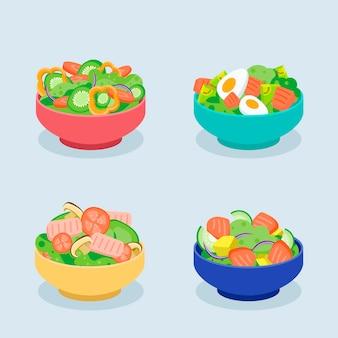 Conceito de taças e saladas