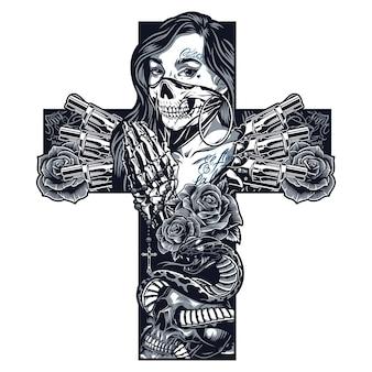 Conceito de tatuagem de chicano monocromático vintage em forma de cruz com menina em máscara assustadora esqueleto mãos segurando revólveres de rosário cobra entrelaçada com rosas de caveira ilustração vetorial isolada