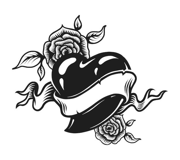 Conceito de tatuagem romântica monocromática vintage