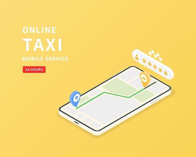 Conceito de táxi online conceito de serviço online de táxi em isométrico