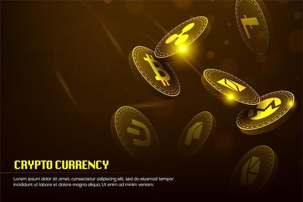 Conceito de tecnologia 3d de blockchain de golden bitcoin adequado para banner ou capa de tecnologia futura