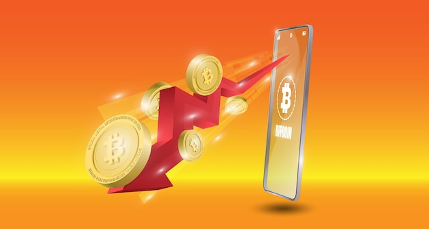 Conceito de tecnologia bitcoin com fundo de seta vermelha de tendência de baixa. ilustração vetorial realista.