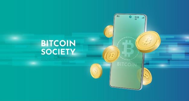 Conceito de tecnologia bitcoin com o fundo móvel. ilustração em vetor realista.