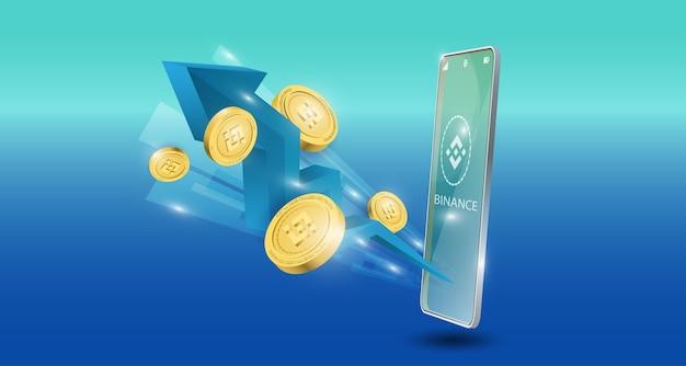 Conceito de tecnologia blockchain com seta azul de tendência de alta com fundo de moeda binance. ilustração vetorial realista.