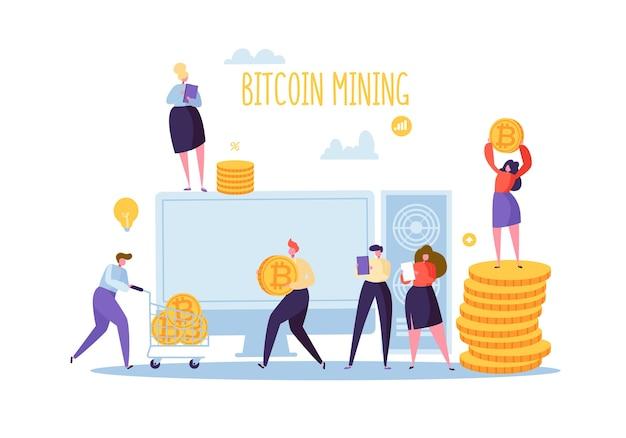 Conceito de tecnologia blockhain de mineração de criptomoeda