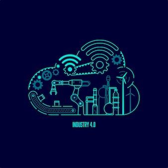Conceito de tecnologia da indústria 4.0, sistema de automação com computação em nuvem