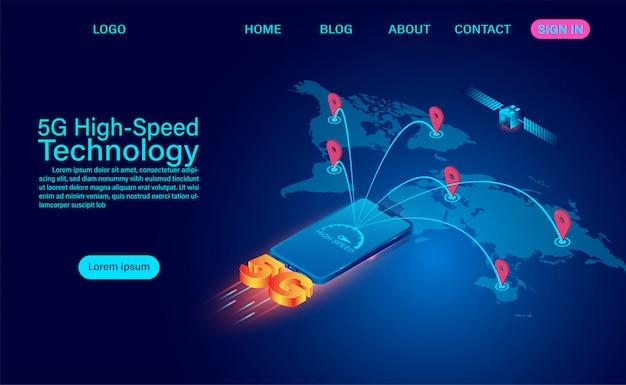 Conceito de tecnologia de alta velocidade 5g. comunicação em rede internet sem fio. conexão de rede mais rápida da internet global. ilustração isométrica design plano