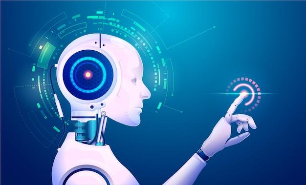 Conceito de tecnologia de aprendizado de máquina, gráfico de inteligência artificial ou ia apontando para elemento futurista