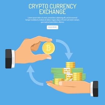 Conceito de tecnologia de bitcoin de moeda criptográfica
