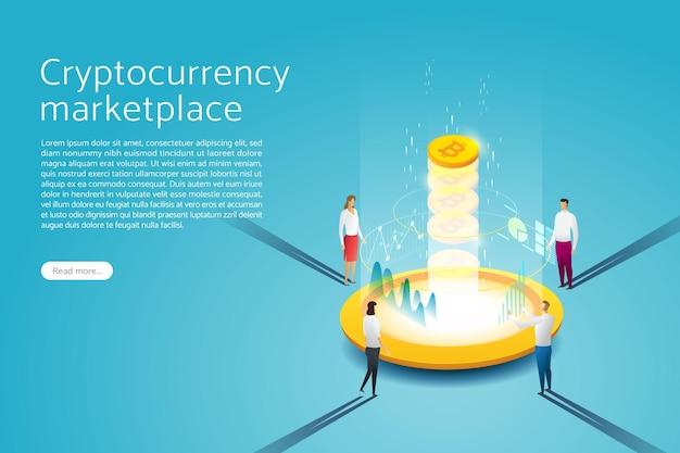Conceito de tecnologia de blockchain bitcoin grupo pessoas mineração de moeda digital para criptomoeda