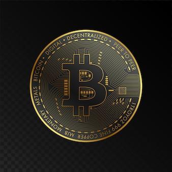 Conceito de tecnologia de blockchain de golden bitcoin adequado para banner ou capa de tecnologia do futuro