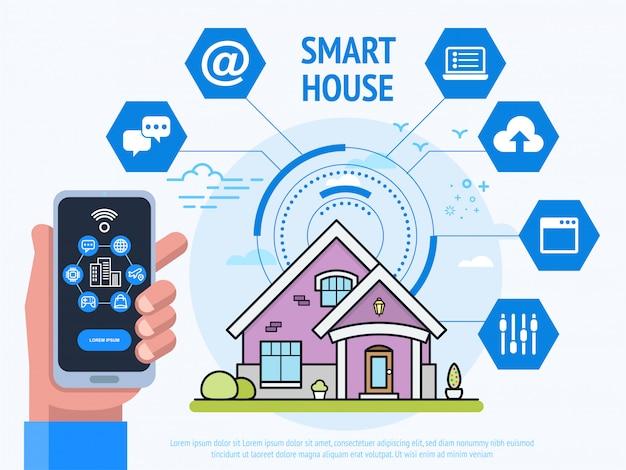Conceito de tecnologia de casa inteligente. mão humana segurando o smartphone com o sistema de controle app.