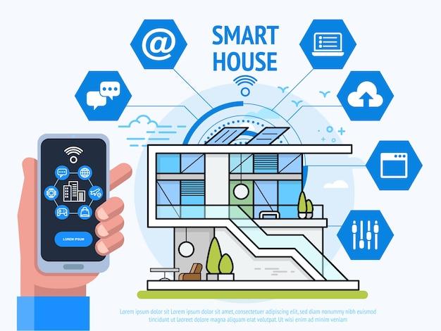 Conceito de tecnologia de casa inteligente. mão humana segurando smartphone com app de sistema de controle.