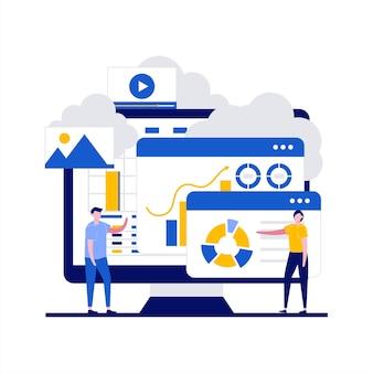 Conceito de tecnologia de computação em nuvem com personagem. proteção de armazenamento de dados, serviços de disco de ciência da computação, inovações de conexão.