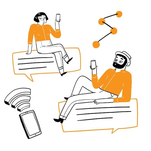 Conceito de tecnologia de comunicação, desenho à mão. ilustração em vetor estilo doodle