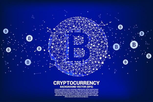 Conceito de tecnologia de criptomoeda e conexão de rede financeira.