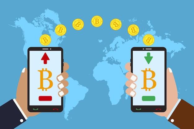 Conceito de tecnologia de criptomoeda troca e transferência de bitcoin mão segura o telefone celular