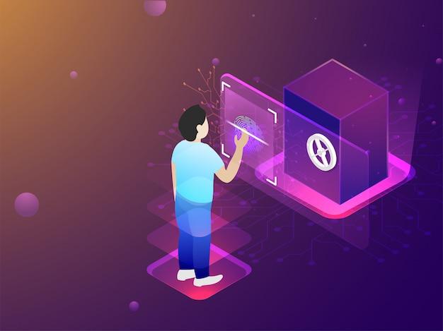 Conceito de tecnologia de digitalização biométrica.