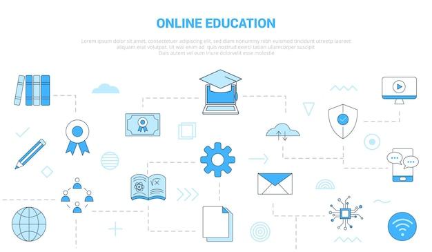 Conceito de tecnologia de educação online com banner de modelo de conjunto de ícones com ilustração em vetor moderno estilo de cor azul
