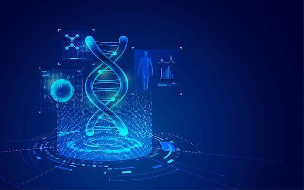 Conceito de tecnologia de engenharia genética, gráfico de dna e vírus com elemento de saúde médica