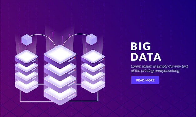 Conceito de tecnologia de grande volume de dados baseado em modelo de web design.