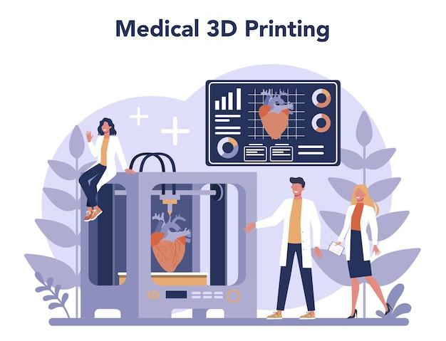 Conceito de tecnologia de impressão 3d. equipamento e engenheiro de impressora 3d. prototipagem e construção moderna.