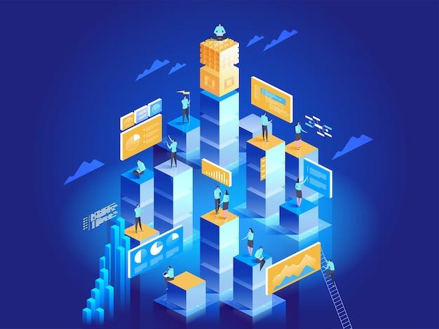 Conceito de tecnologia de marketing digital e desenvolvimento de aplicativos