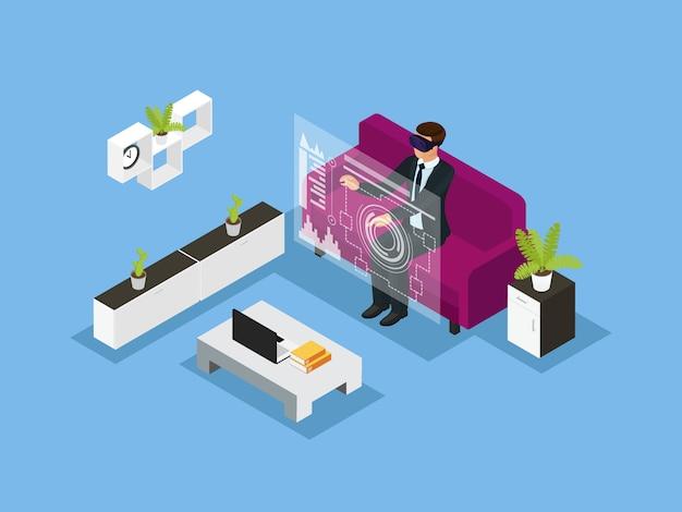 Conceito de tecnologia de negócios isométrica