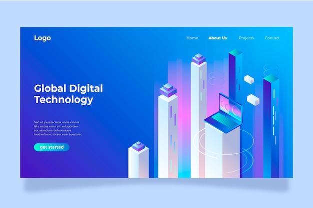 Conceito de tecnologia de página de destino do modelo