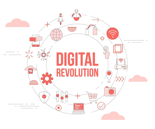 Conceito de tecnologia de revolução digital com banner de modelo de conjunto de ícones e formato redondo de círculo