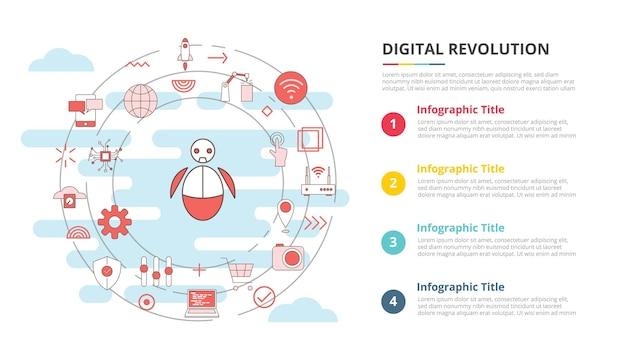 Conceito de tecnologia de revolução digital para banner de modelo de infográfico com informações de lista de quatro pontos