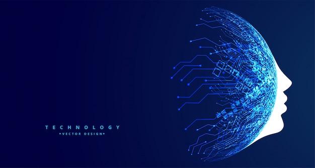 Conceito de tecnologia de rosto futurista design de inteligência artificial