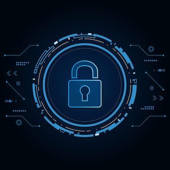 Conceito de tecnologia de segurança cibernética, ícone de escudo com fechadura, dados pessoais,