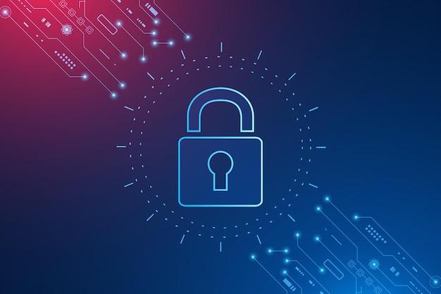 Conceito de tecnologia de segurança cibernética ícone de escudo com fechadura - dados pessoais