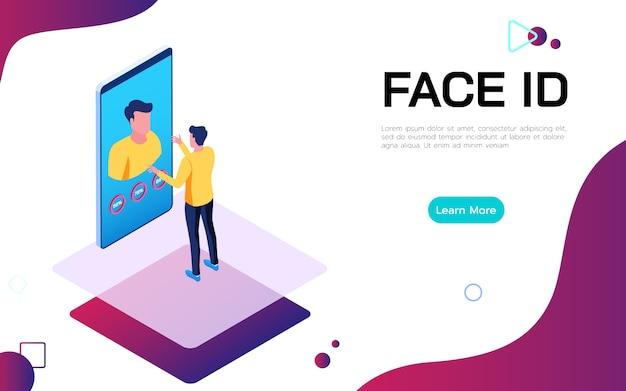 Conceito de tecnologia de segurança digital isométrica de identificação de rosto.