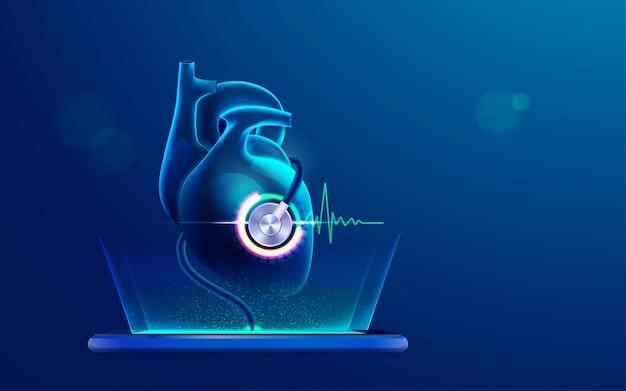 Conceito de tecnologia de tratamento médico ou cardiológico online, gráfico de coração humano analisado por estetoscópio a partir de aplicativo móvel