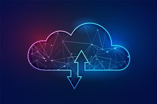 Conceito de tecnologia de wireframe poligonal de computação em nuvem